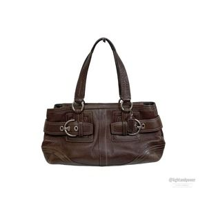Coach Hampton Brown Leather Shoulder Bag